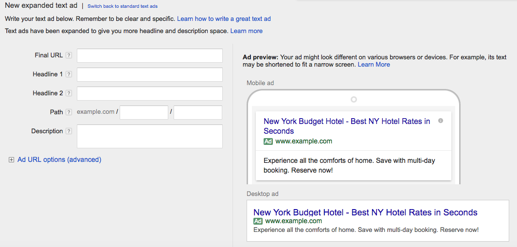 Adwords Character Limits for Expanded Ads