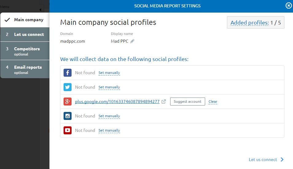 social profile setup